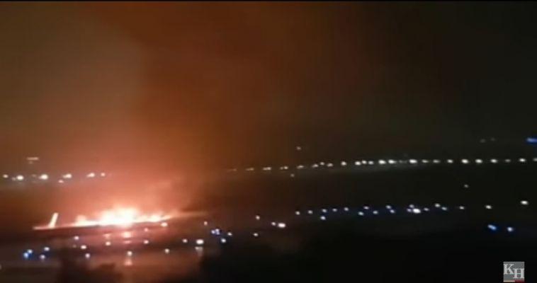 Пассажирский самолет охватило огнём после посадки