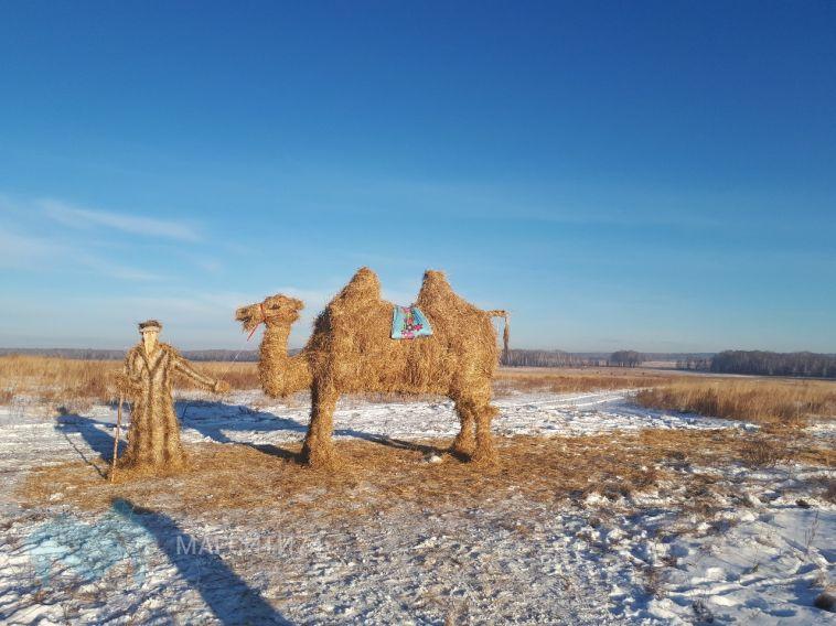 На дороге в Челябинск путников провожает соломенный верблюд