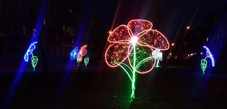 На проспекте Ленина распустились цветы, правда пока светодиодные