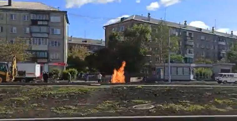 В Магнитогорске из-под земли пылало пламя