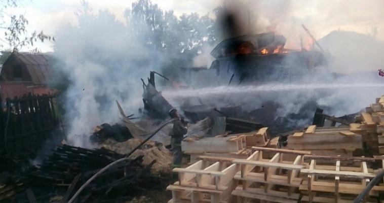 Жуткий пожар в садах! Горят не только дома, но и склад пиломатериалов
