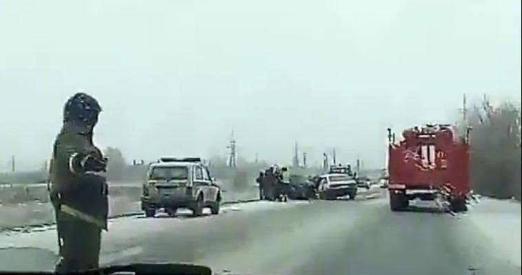 ВИДЕО: ДТП на Агаповском шоссе едва не стало смертельным