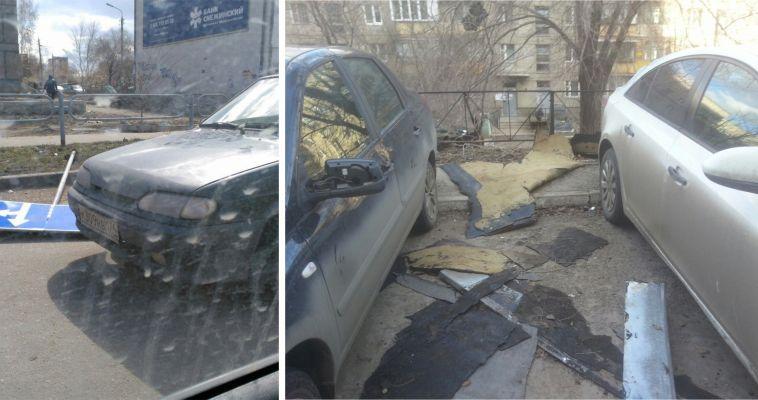 В Магнитогорске от ветра упали дорожные знаки и настил с крыши