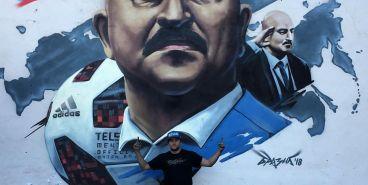 В столице Южного Урала нарисовали гигантский портрет тренера сборной РФ по футболу